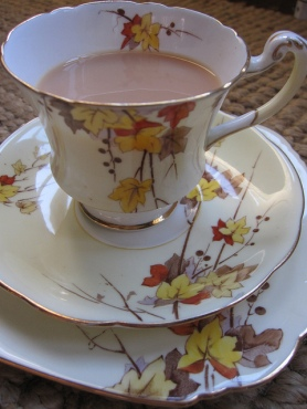Autumn leaves adorn this gorgeous vintage china tea cup