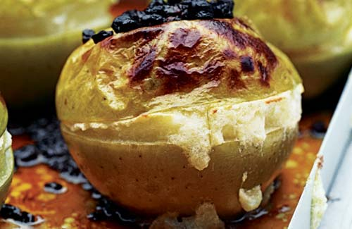 Autumn afternoon tea with a perfect baked apple