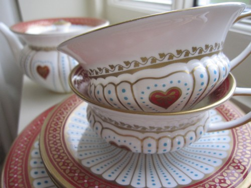 Valentines afternoon tea in beautiful Queen of Hearts Wedgwood china tea cups